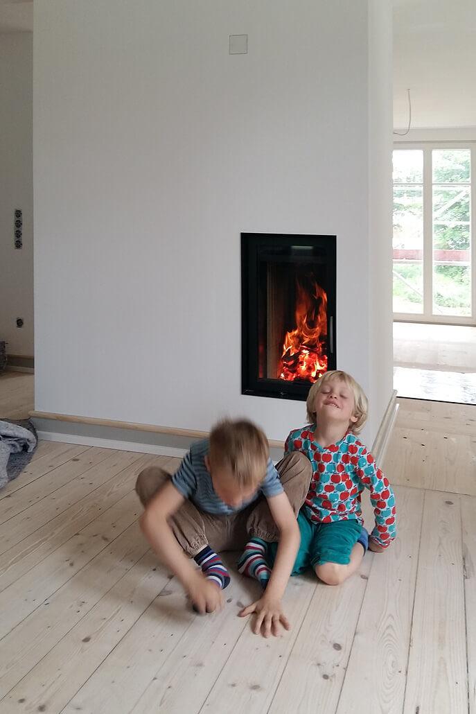 Grundofen mit gemauerter Feuerstelle